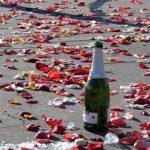 bottle and rose petals