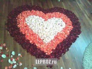 большое сердце из лепестков роз